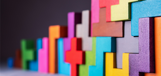 Building strategy with abstract colorful blocks